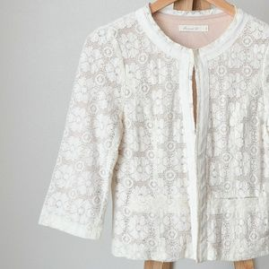 Comme Toi by Anthropologie Lace Cropped Jacket